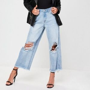 Womens High Waist Denim Shredded Wide Leg Culottes